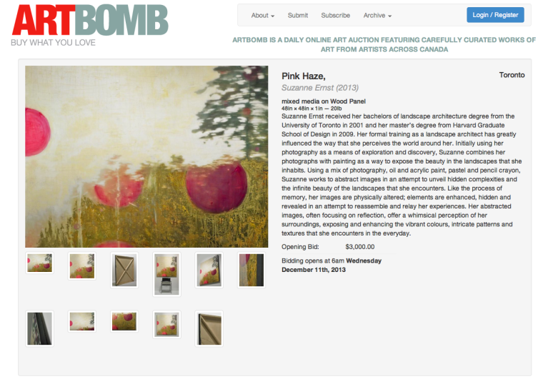 MY ART FEATURED ON ARTBOMB, WEDNESDAY, DECEMBER 11, 2013